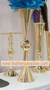 Tall Vase French Gold 29 inches Polished Metal Reversible Double Vases 1 PC