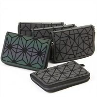 Geometric Rhombic Luminous Leather Women Purse Wallet Handbag Card Coins Phones