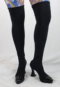 Chanel Auth Black Microfiber Stretch Leather Cap Toe Platform Knee High Boots 8