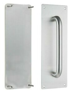 Pull handle on plate and push plate stainless steel combo