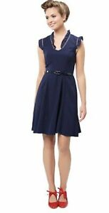 *NWT* REVIEW Juniper Dress in Blue Navy Crepe Soft Frill Neckline & Sleeve 14