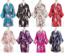 *Hot Womenfloral Satin Robe Dressing Gown Bridal Wedding Bride Bridesmaid Kimono