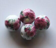 30pcs 10mm Round Porcelain/Ceramic Beads - White / Dark Pink Roses