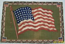 "1900'sl Antique Large 48 Star American Flag Tobacco Felt 12"" X 8 1/4"""