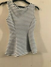 Primark striped white peplum top size 6
