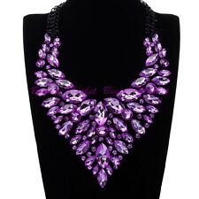 Fashion Black Chain Purple Glass Crystal Choker Statement Pendant Bib Necklace