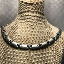 """Firenze Stainless Steel Heart Choker Necklace Florence Italty 18"""" VALENTINES DAY"""