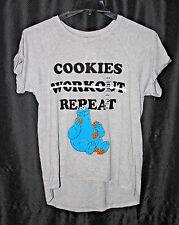 Sesame Street Cookie Monster Hi Lo T-Shirt Sz L Gray Cookies Worjout Repeat NWT