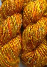 Sari Silk Multi-Gold/Orange Yarn 100g approx for Textile Art/Crafts