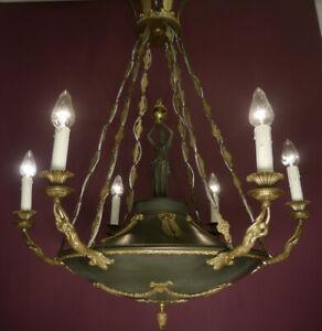 ANTIQUE LARGE 6 LIGHT EMPIRE CHANDELIER GREEN VARNISH BRASS HOTEL INTERIOR OLD