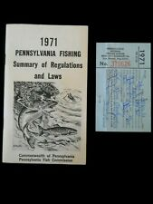 Vintage 1971 Pa Fishing License and Regulations Booklet