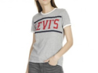 LEVIS PERFECT RINGER T-SHIRT VINTAGE CLASSIC LOOK GREY SIZE SMALL **NEW**