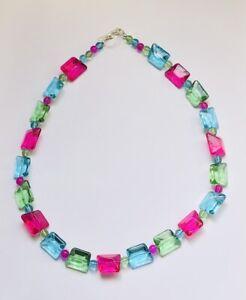 Stunning Hot Pink Turquoise & Peridot Chunky Italian Glass Necklace.-)