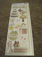 """Scrapbooking Stickers Paper House 13"""" Just Married Wedding Cake Rings I Do MrMrs"""