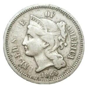 1865 US Civil War Era 3 cent Nickel Three Cent threecent Old Coin