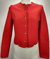 Geiger Tyrol Austria Womens Boiled Wool Cardigan Sweater Jacket Size 40 S M Red
