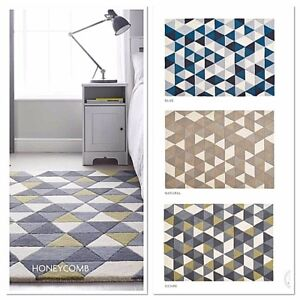 Origin Honeycomb Contemporary Hand Tufted Wool Rug, Geometric Design 3 sizes