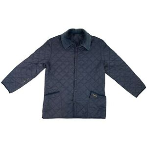 Barbour Men's Quilted Jacket Button Up Navy Blue Large