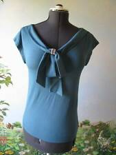 Love Moshino Gorgeous Teal Jeweled Bow Evening Top Size 4 NWT $250