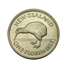 elf New Zealand 1 Florin 1933 Silver Kiwi Bird George V