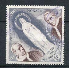 MONACO 1958, timbre 492, APPARITIONS de LOURDES, VIERGE, PAPES, oblitéré