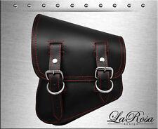 La Rosa Black Leather Red Stitching HD Softail Rigid Left Swing Arm Saddlebag