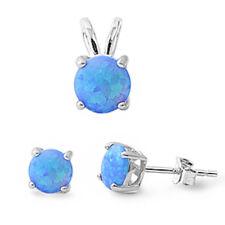 """Blue Australian Opal .925 Sterling Silver Earrings & Pendant Set .5"""""""
