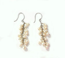 """freshwater cultured pearl cluster wire wrap earrings 18k white gold .7g 2"""" 5cm"""