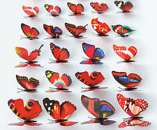 24X Butterflies 3D Artificial 7cm Length Decorations For Home Weddings Festivals