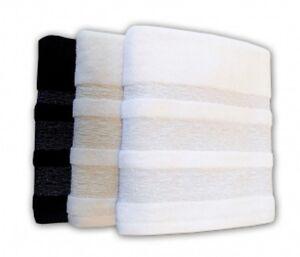 Luxor Glitter Border Luxury Hand and Bath Towels - Black, White and Cream
