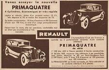 Y8770 RENAULT Primaquatre 4 Cylindres - Pubblicità d'epoca - 1931 Old advert