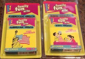 2 NIP Fundex Family Fun Nite TRIVIA CARD GAMES American & Kids - Home Schooling