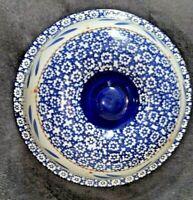 "Blue LG Casserole Lid~Temp-Tations By Tara Old World Blue~10.5"" Diameter Round"