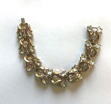 "Trifari Fashion Bracelet- gold color- rhinestone pretty design- 7.5"" long"