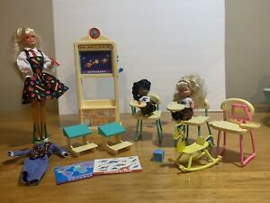 Vintage Teacher Barbie In Classroom. Magic And Sound 1995.