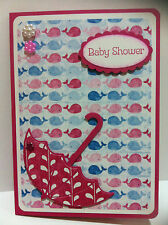 Handmade Baby Shower card. Pink/girl. Design #2 whales