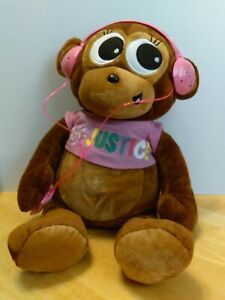 "JUSTICE Monkey with Pretend ipod and Ear phone 22"" Plush Brown Monkey"