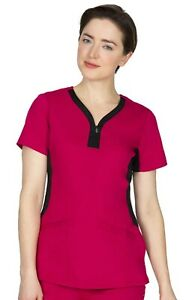 """Healing Hands 2270 V-Neck Contrast Trim Scrub Top in """"Berrylicious"""", Size XL"""