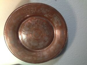 Antique Marked C.1800 Islamic Copper & Zinc Tray Plate Charger Persian Turkish