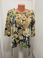 Caribbean Joe Island Petite womens floral shirt Top Drawstring Sides l  large