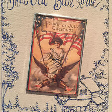 4th of July Patriotic Pin That Old Blue House Handmade Colorful