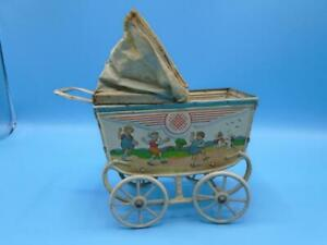 Vintage Toy German Tin Metal Lithographed Baby Doll Carriage