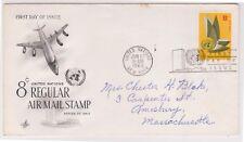 (K81-3) 1963 UN FDC 8c Regular Air mail used (C)