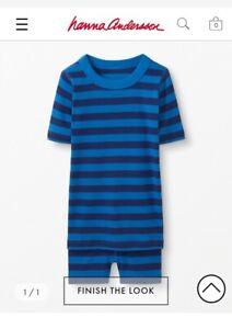 Unisex Hanna Andersson Short John Pajamas Organic Cotton Lookout Blue 120cm $40