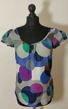 MONSOON Womens Blouse Size 8 36 Shirt Geometric Grey Blue Scoop Neck Cap Sleeve