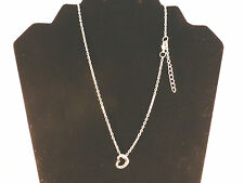 Ladies Small Silver Toned Hollow Heart Pendant on an adjustable Chain Necklace