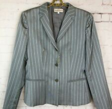 ..nwt EMPORIO ARMANI  Wool Blend Gray/Blue Striped Suit Jacket Sz 10 #5931