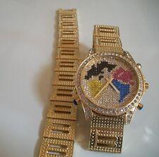 Men's God finish Geneva hip hop bling MAP dial fashion watch and bracelet set