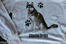 SIBERIAN HUSKY*Mock Neck*WHITE*Long Sleeve Shirt/Top*Ladies Small*100% Cotton*