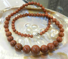 Sun Sitara Round Beads Necklace 18'' Natural 6-14mm Galaxy Stars Gold Sandstone